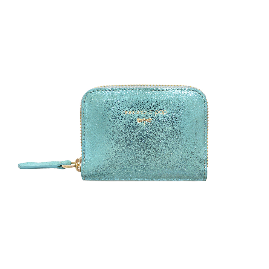 LISA Turqouise glitter leather wallet