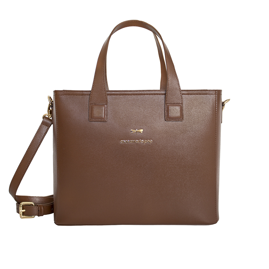LORI Chocolate leather handbag