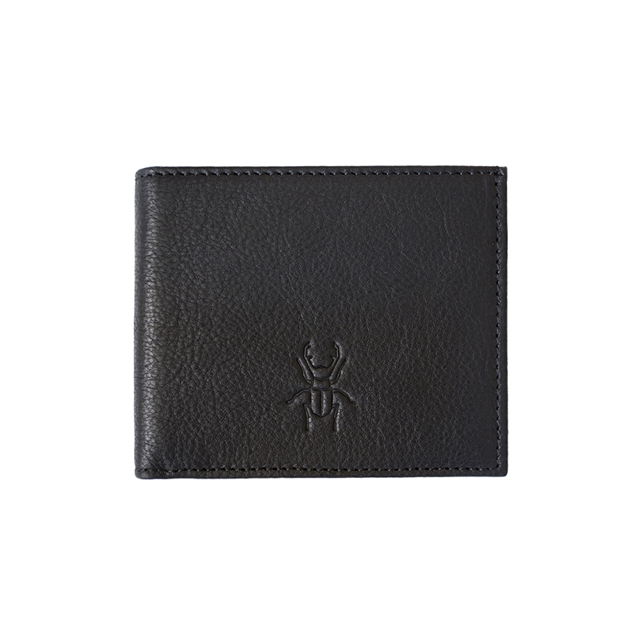 JACK black leather wallet with coin holder
