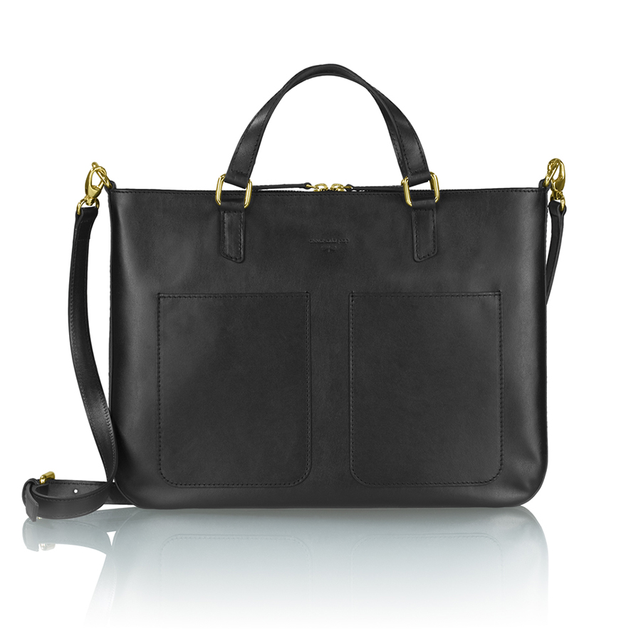MARIE leather notebook bag (black)