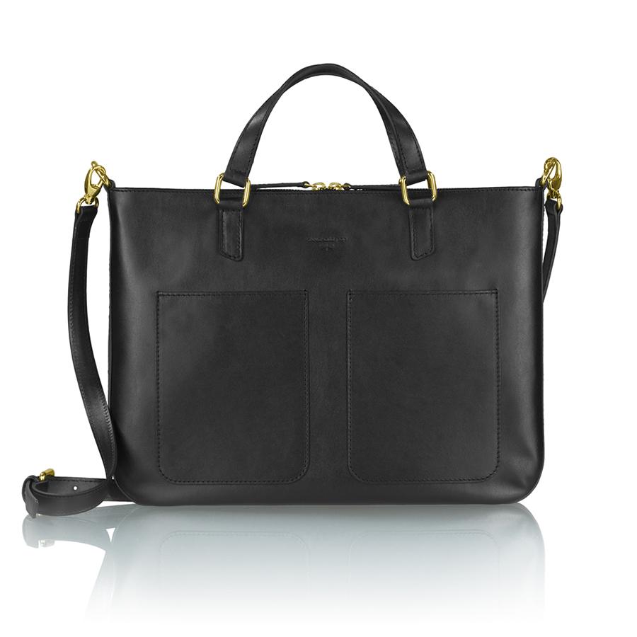 MARIE bőr laptop táska (fekete)