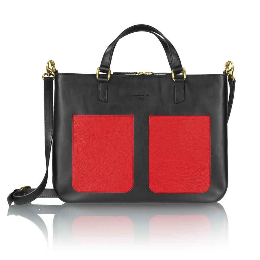 MARIE bőr laptop táska (fekete-színes zseb)
