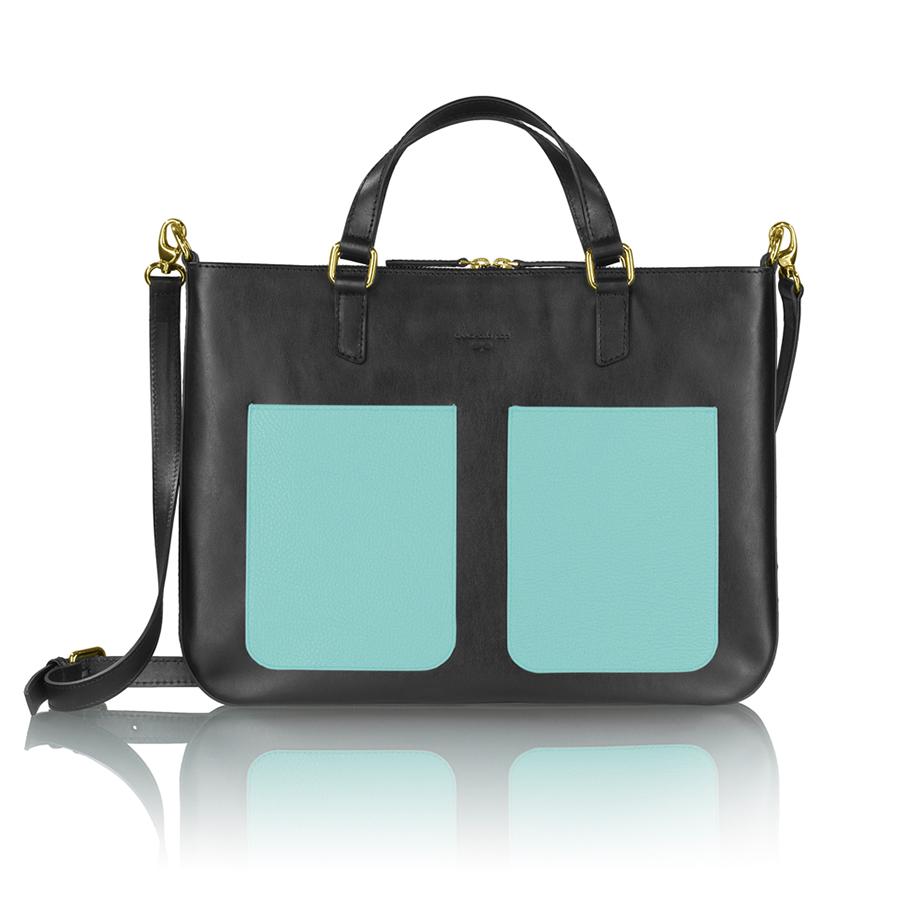 MARIE bőr laptop táska (fekete-türkiz zseb)