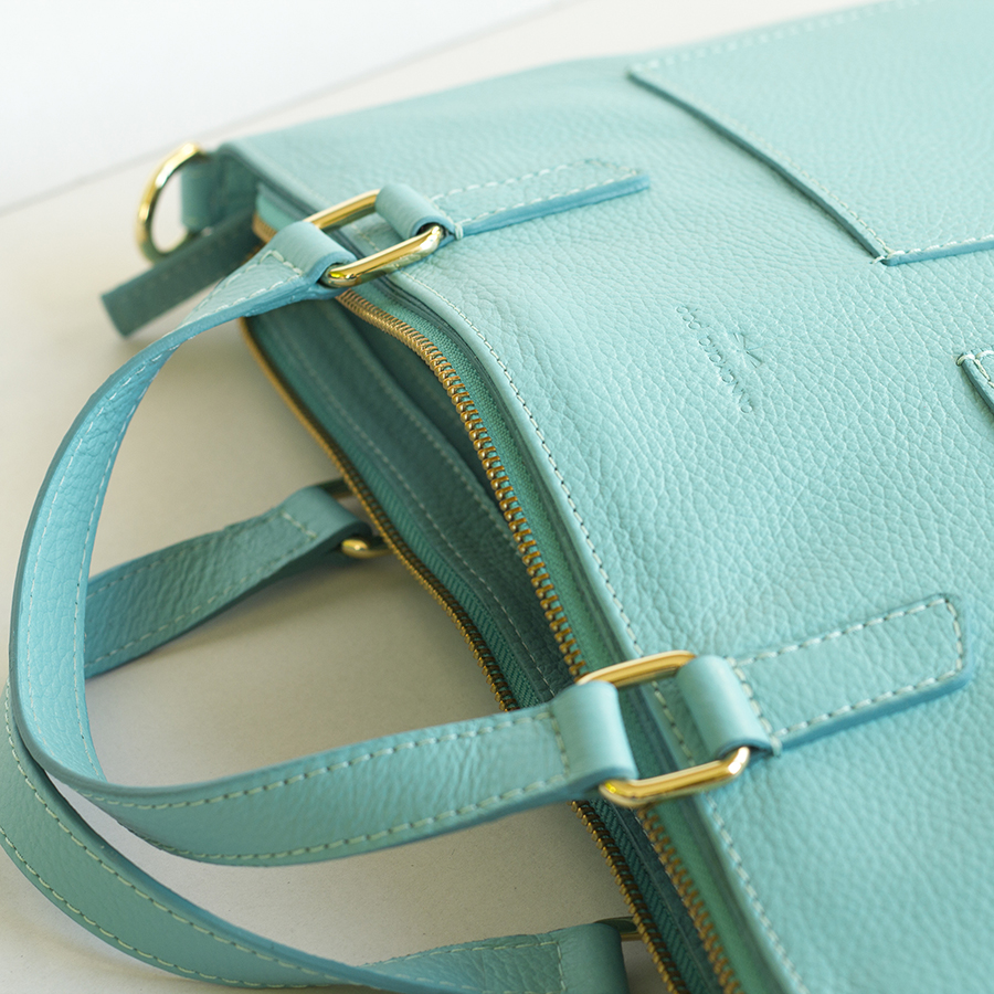MARIE leather notebook bag (turquise)