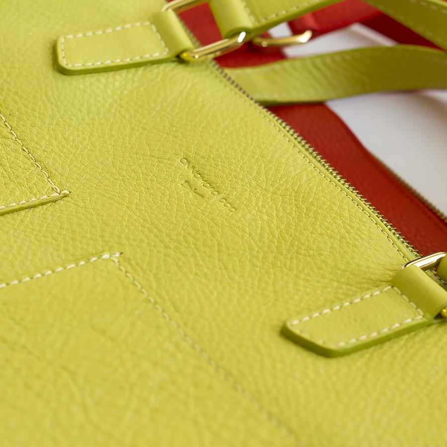 MARIE bőr laptop táska (pisztácia)