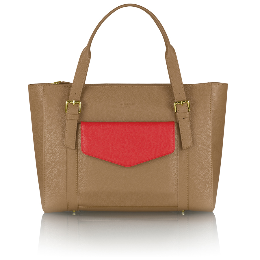 ANN-MARIE brown manager bag + red clutch