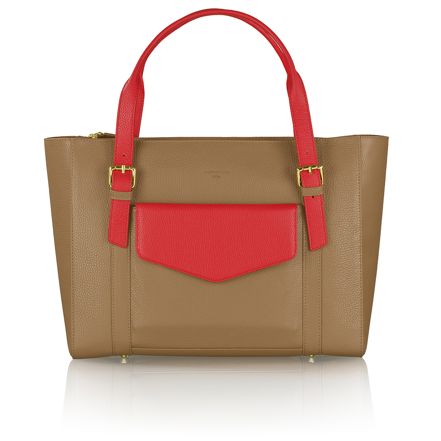 ANN-MARIE manager barna bőrtáska + piros clutch