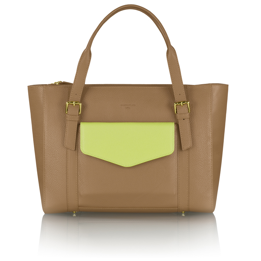 ANN-MARIE brown manager bag + pistachio clutch