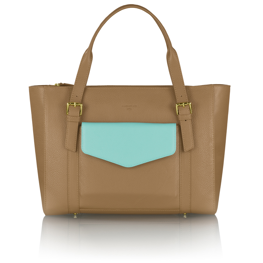 ANN-MARIE brown manager bag + turquoise clutch