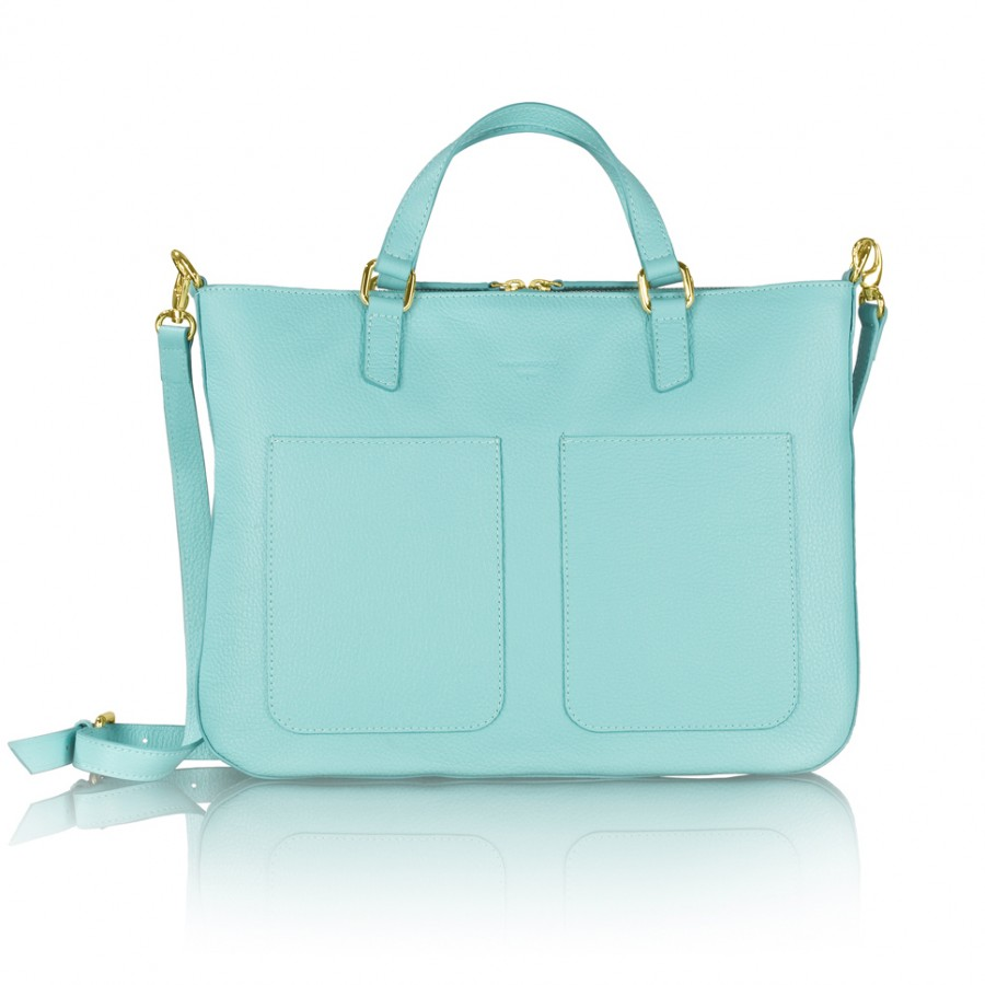 MARIE bőr laptop táska (türkiz)