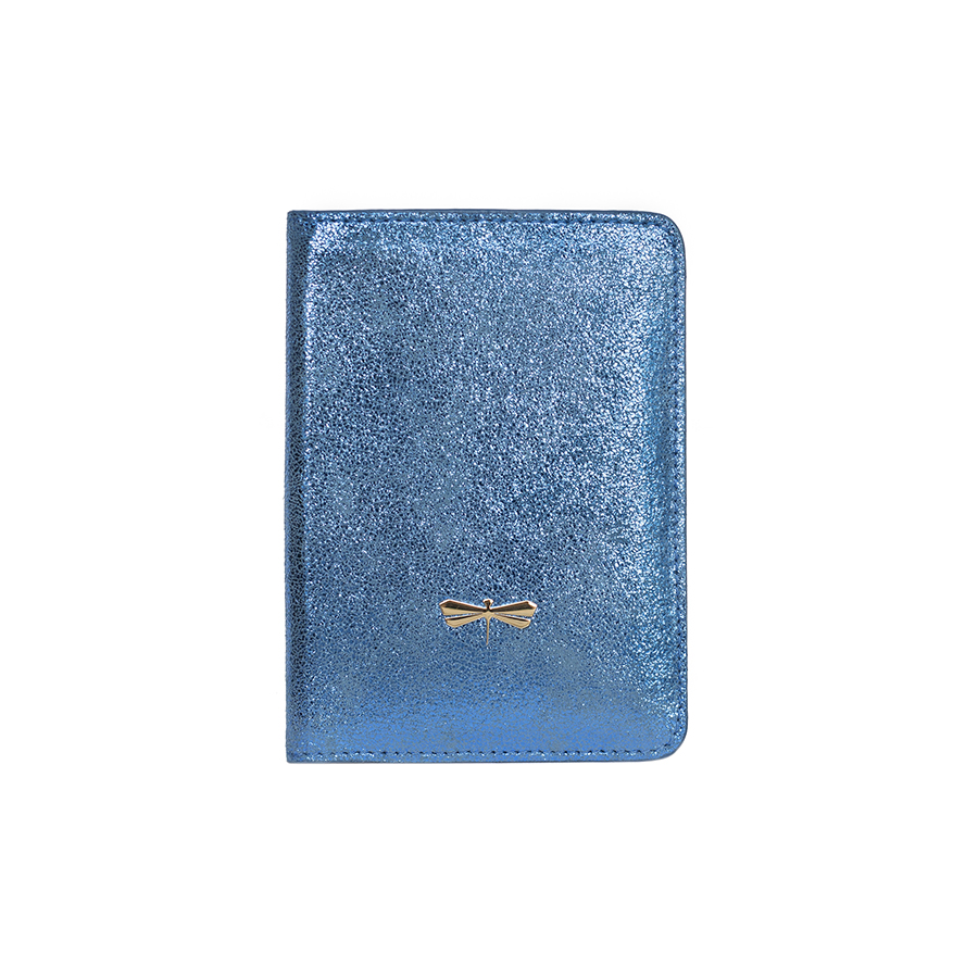 MONA Kék glitter bőr útlevéltartó