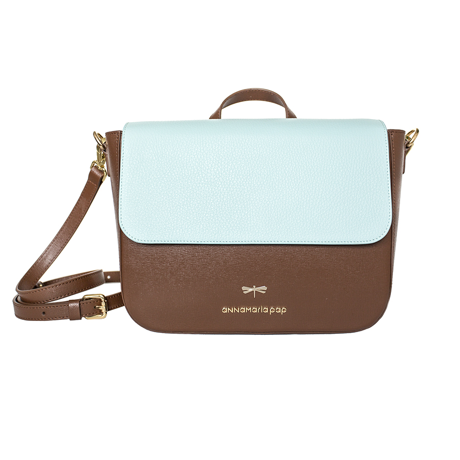 NINA Chocolate & Ocean leather bag