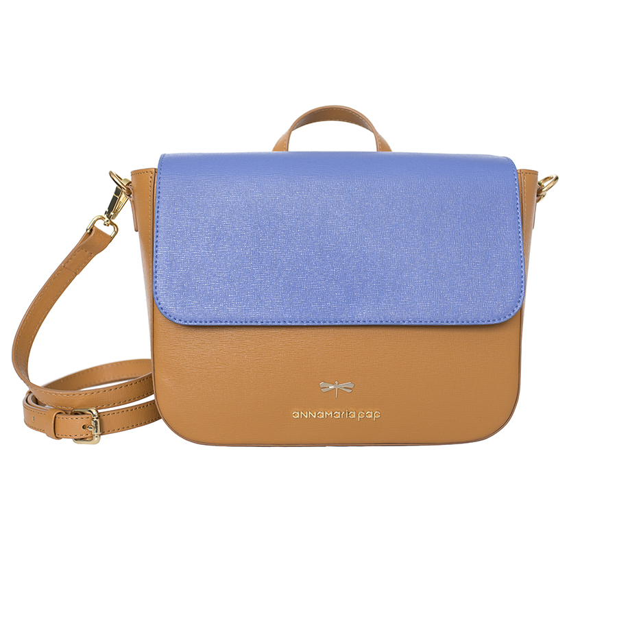 NINA Cognac & Plumblue leather bag