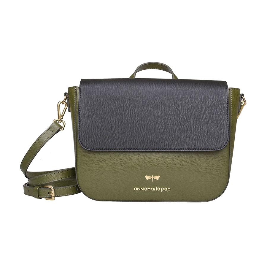 NINA Olive & black leather bag