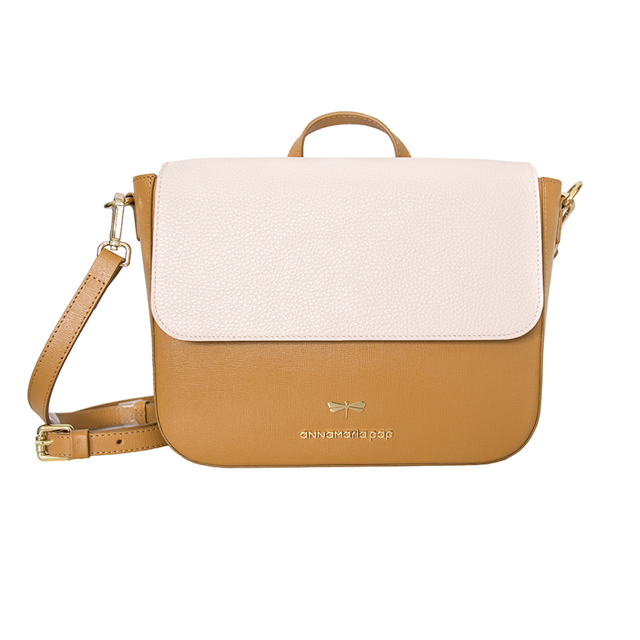 NINA Cognac & Powder leather bag