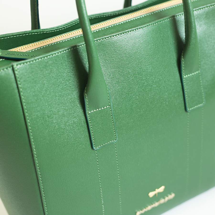 POLLY Emerald leather handbag