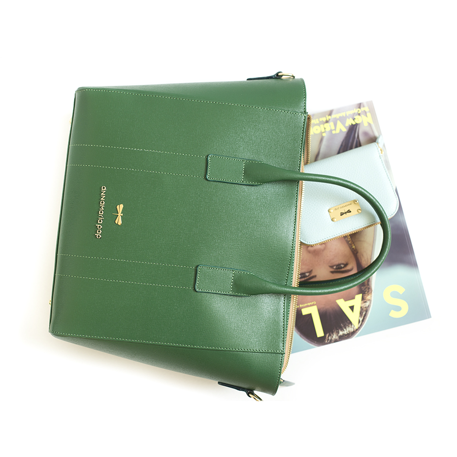 POLLY Smaragdzöld bőrtáska