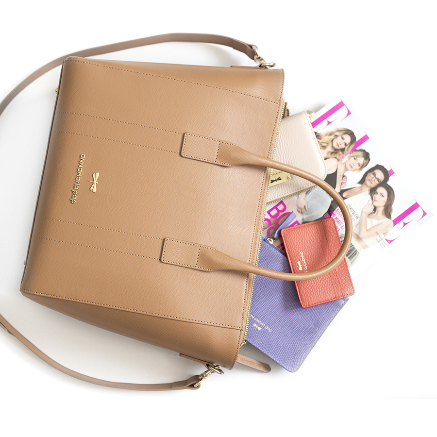 POLLY Toffee leather handbag