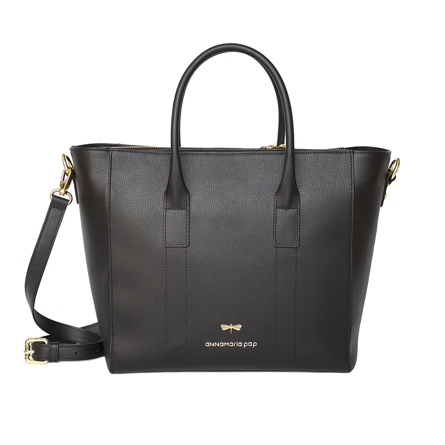 POLLY Black leather handbag