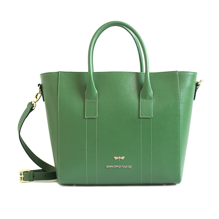 POLLY Emerald leather handbag