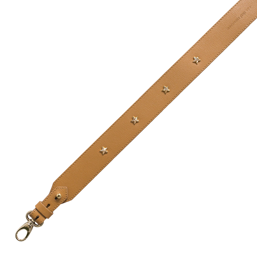 Wide cognac swarovski strap