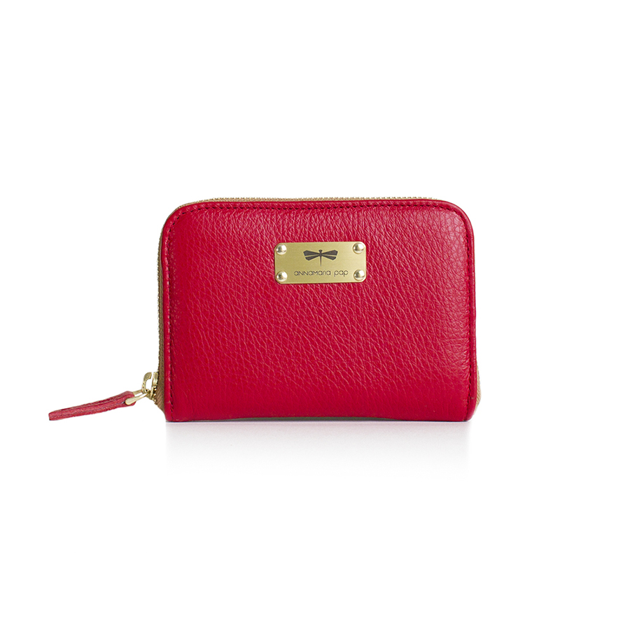 VICKY Strawberry leather wallet