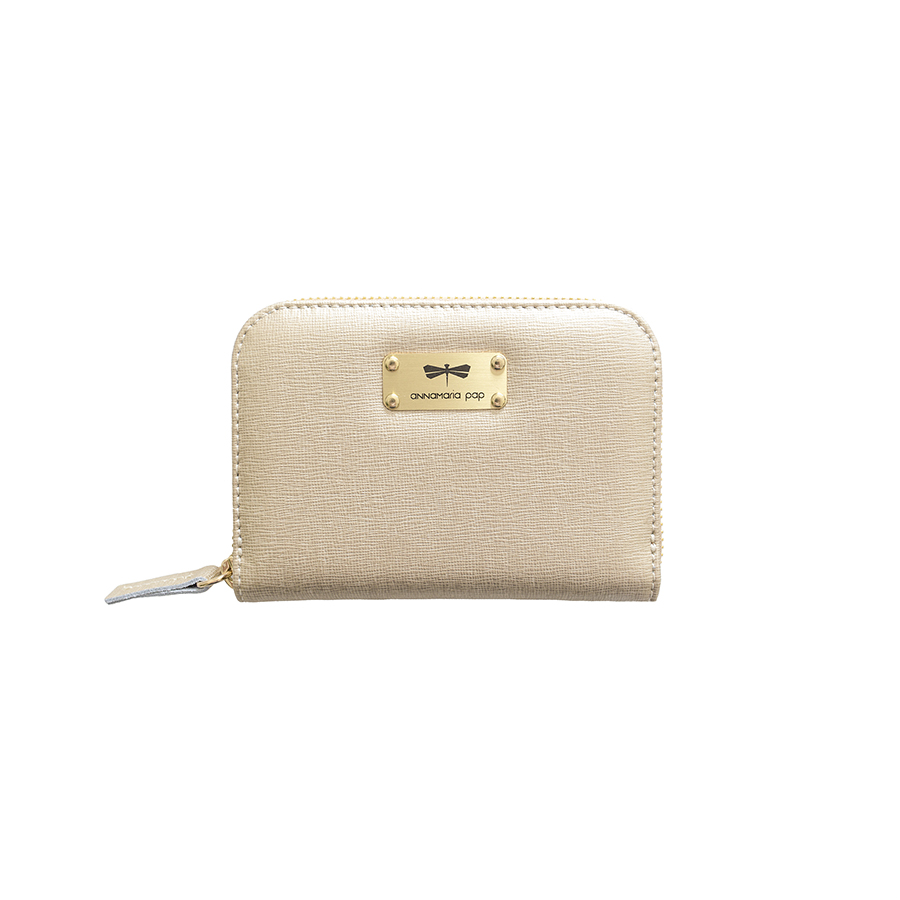 VICKY Gold leather wallet