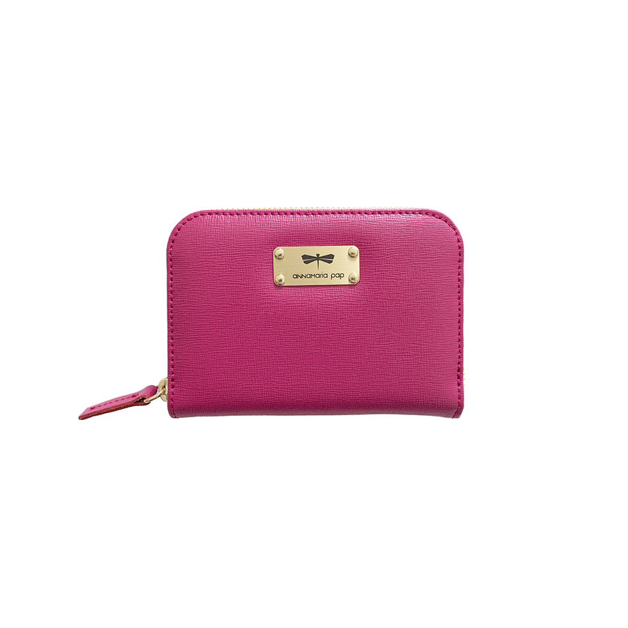 VICKY Raspberry leather wallet