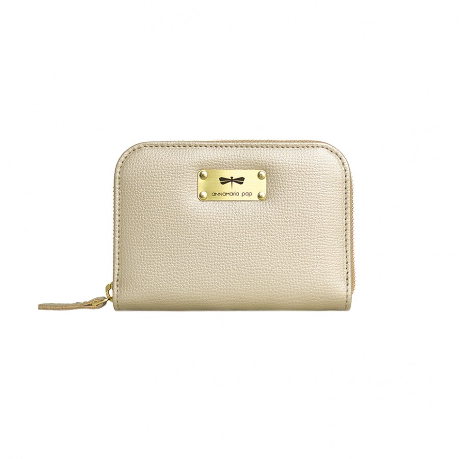 VICKY Champagne leather wallet