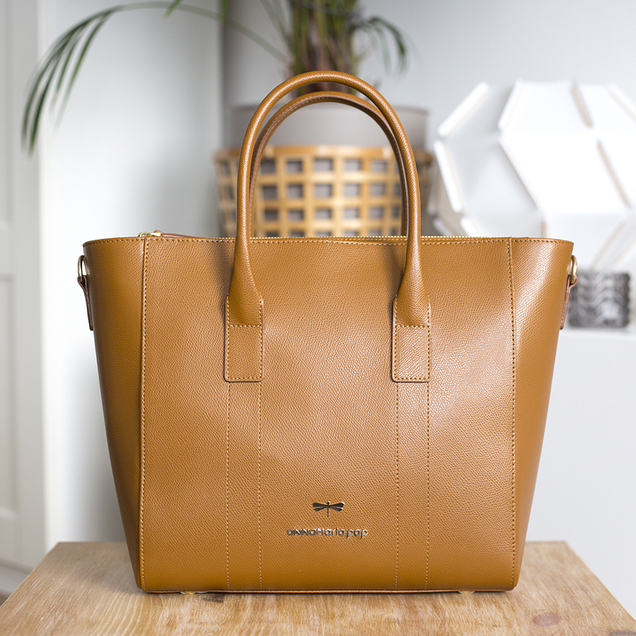 POLLY Cinnamon leather handbag